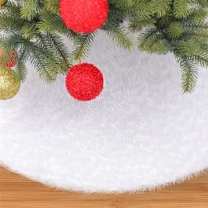 122 cm Plush Xmas Tree Dress Plush White Christmas Tree Skirt Faux Fur Carpet Xmas tree decoration New Year Home Decorations T9I00763
