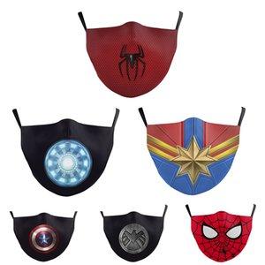 Yetişkin Kid'e Yüz Maskesi Baskılı Moda Örümcek Pamuk Maskeler Anti Toz Yıkanabilir Şenlikli Parti Maskeler