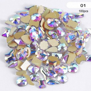 100Pcs Multi forme di vetro di cristallo di Strass per Nail Art Craft, Mix 8 stili di Flatback Cristalli 3D Tatuaggi posteriore piana R49 jhud #