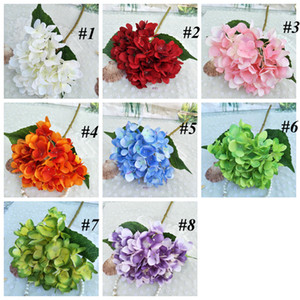Artificiale Hydrangea Flower Head Falso Silk Single Real Touch Ortensie per Centrotavola di nozze Casa Party Decorative Flowers LLS666