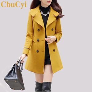CbuCyi 4 Cores Plus Size Overcoat Feminino Wool Jacket Magro Abotoamento Ligue-down gola do casaco longo Casacos Casacos Mulheres Blends