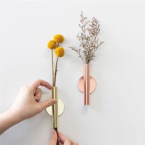 Abstract Ferro vaso de flor plantador da cremalheira da festa de casamento Organizador parede do vaso Creative Home Decoração Rosa de Ouro