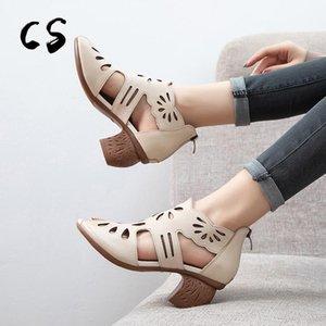 CUCULUS 2020 Новая ретро натуральная кожа круглый носок квадратный каблук печать полые пряжки ремешок удобные женщины сандалии Med Heels1