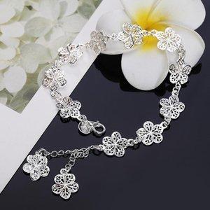 Nueva llegada hermosa pulsera noble cadena de flores moda boda fiesta plata linda dama agradable mujeres pulsera joyería lh013 h bbysdw