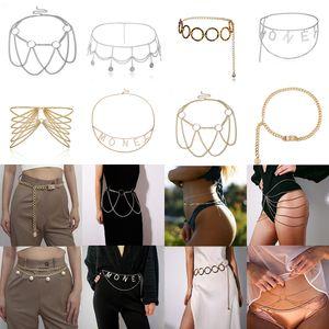 Geometría de moda para mujer Cadena corporal Sujetador de la cintura Joyería de la pierna Bikini Beach Sexy Crossover Necklacea
