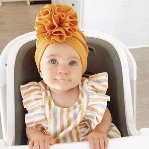 3d Flower Turban Caps Baby Soft Muslim Hats Twisted Bandanas Girls Cotton Headwear Children Head Wrap Solid Elastic Headscarves sqcptf