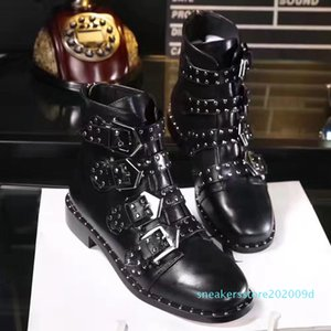 fashionville*u750 40 black genuine leather stud belt flat short boots zippy punk s09