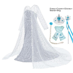 New Dress for Girls Kids Snow Queen 2 Elza White Carnival Princess Costume Wig Children's Birthday Party Clothes Accessory