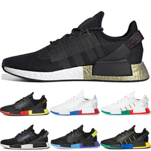 New arrive nmd r1 v2 running shoes for men women Black Gold Black White Bright Volt Rio De Janeiro chaussures walking shoes