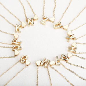 26 Intial letter alphabet heart pendant necklace for women gold color A-Z alphabet necklace chain fashion jewelry Gift