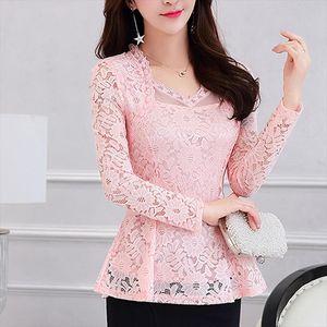 Women clothing New 2021 Fashion Plus Size Womens Shirts Long sleeve White Lace Blouse Shirt Crochet Autumn Hollow Out Blusas 1E