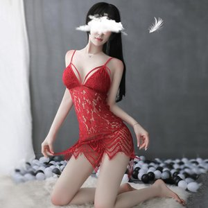 Summer Night Dress Pijama Home Clothes see through Deep V Sling Nightdress Sexy Hollow Out Nightgown Lace Nightwear Sleep Dress