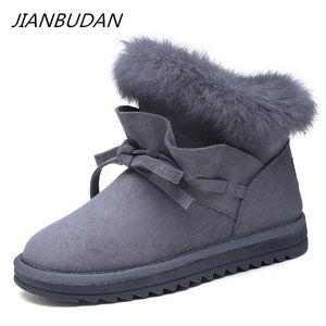 JIANBUDAN Winter warm snow boots woman 2020 new Casual plush cotton shoes Female fashion hair Plush snow boots size 35-40
