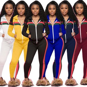 New Women Plus Size Clothing Tracksuit Patchwork Zipper Hooded Jacket pencil Pants 2 Two Piece Outfits Ladies Jogging Sweatsuits