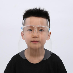 Kids Face Shield Transparent Full Face Cover Oil-Splash Anti-fog with Glass Frame Plastic Reusable Protective Face Mask faceshields HHA1472