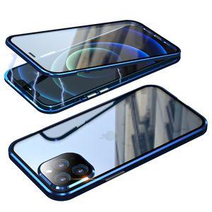 360 Tam temperli cam Manyetik Adsorpsiyon Telefon Kılıfı iPhone 12 Pro Max 11 XS Max XR X 8 7 6 6S Artı