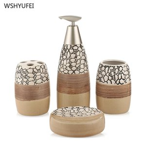 4 sets of embossed lines ceramic bathroom set creative home non-slip design mouth cup soap dish soap bottle toothbrush holder