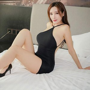 Sexy Backless Strap Candy Color Dress Ice Silk Smooth See Through Mini Tight Dress Nightclub Exotic With G string Women M9