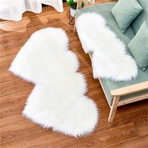 Imitation Wool Carpet Plush Living Room Bedroom Double Heart Shaped Fur Rug Washable Seat Pad Fluffy Rugs 35*70cm 60*120cm 90*180cm 2 NCPK3