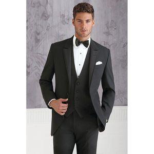 Custom Made black Groom Tuxedos Blazers Slim Fit Mens Wedding Suits For Men Business Suit men Blazers (Jacket+Pants+Vest+tie)