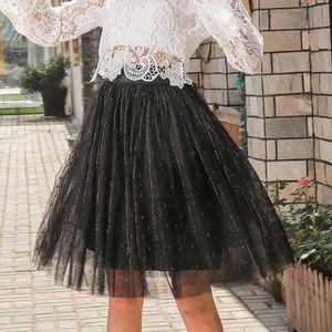 Süßte Ineinander greift Chiffon Ball gewachsen Frauen-Rock gefaltete feste Kawaii Reich Röcke Weibliche beiläufige Knielänge Netter Partei-Rock