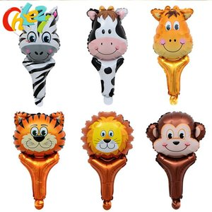 6 pcs Handheld Animal Head Foil Balloons Tiger Lion zebra Inflatable Air Balloon Baby Shower Birthday Party decoration Kids toy