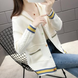 Hooded knit cardigan female 2020 fall and winter clothes new Korean foreign ride Western style fashion sweater coat Spring