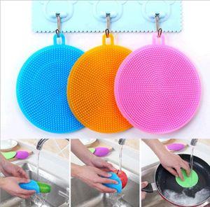 Silikon Yuvarlak Fırça Çanak Kase Temizleme Fırçaları İşlevli Souring Pad Yemeği Buzucular Temizleyici Mutfak Çanak Yıkama Aracı LSK1814