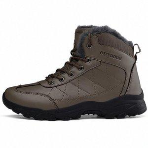 Talla 39-48 Botas de nieve más cálidas 2019 Marca Hecrafted Estilo ruso Cuero genuino Hombres Zapatos de invierno 716 # 244a