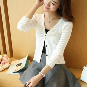 2017 Spring Autumn Knitting V neck Cardigans Sweaters Girls Slim Short Solid Full Sleeve Knitwear Outwear ZY0475