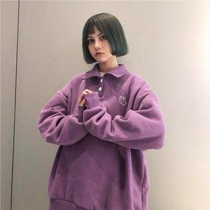 New Autumn Hoodies Cotton Women 2020 College Wind Polo Sweatshirt Loose Harajuku Cartoon Elephant Embroidery Hoodies Female