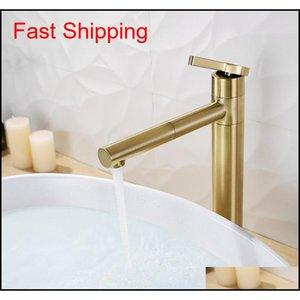 Brushed Gold Rotatable Basin Faucet 100% Brass Round Bathroom Faucet Hot & Cold qyllpP dh_seller2010
