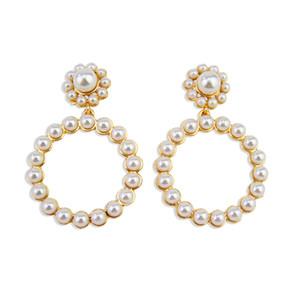 2020 Fashion Earrings European and American Ladies Christmas Alloy Exaggerated Stud Earrings Female Circle Pearl Designer Earrings