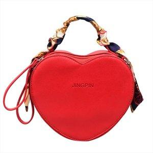 Leather Messenger Bag Womens Hot Sale Heart Shaped Solid Color Handbag Scarf Ladies Handbag Women Thin Strap Crossbody Bag