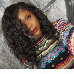 Barato Ola de agua peruana Virgin Hair Silk Top Full Lace WIG Peluca Natural Color Natural Sin Golpear Base de seda Frente de encaje Peluca humana para mujeres negras