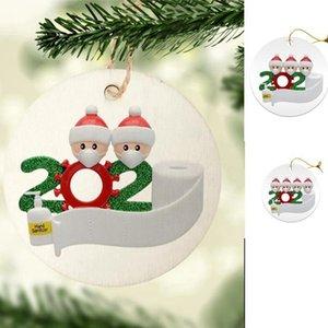 8 centímetros redonda 2020 ornamento Quarentena Natal da família DIY Rasin Cartão Xmas Tree suspensão de Santa hdc Pingentes Party Decoration SEA