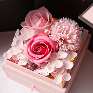 Romantic Jewelry Box Soap Flower Rose Carnation Mother's Valentine's Day Gift with LED Light EEF4351