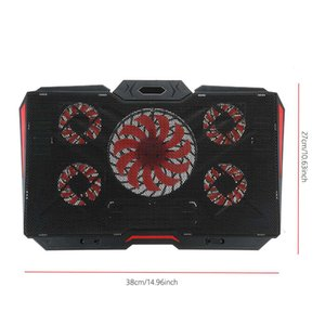 5-Fan Gaming Laptop Cooler 8 Angle Adjustable 2400RPM Cooling Fan Speed Laptop Cooling Pad Stand Suit for 12-17 Computer