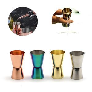 الفولاذ المقاوم للصدأ النبيذ كوب قياس 15/30 ملل مصقول مزدوجة الرأس كوب متعددة الوظائف بار أوقية شاكر كوب 4 ألوان شريط أدوات GWF4333