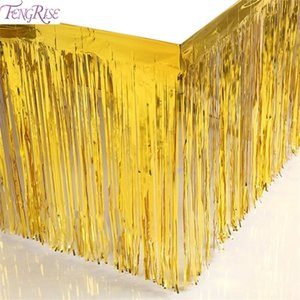 FENGRISE Gold Foil Fringe Tinsel Curtain Metalic Tassel Grlands Table Skirt Wedding Decoration Christmas Backdrop Party Decor