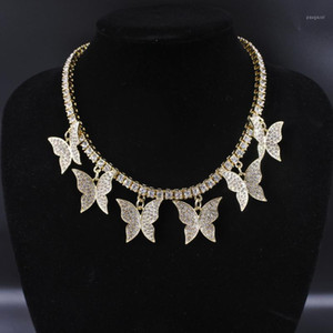 Butterfly big charm chokers necklaces women jewelry 1 row tennis chain 16inch gold silver color bling hip hop rap rock design1