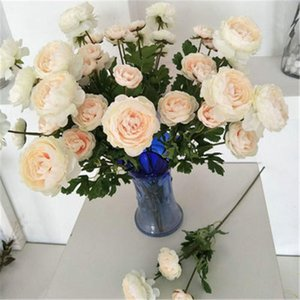 2PCS Artificial Simulation Silk 3 Flower Head Camellia Rose Decoration Wedding Home Living Room Bedroom Decorative Fake Flowers