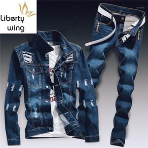 Bahar Erkek Denim İki Parçalı Set Delik Yırtık Slim Fit Ceket Kot Setleri Erkek Rahat Vintage Ropa Hombre Kargo Suit Streetwear1