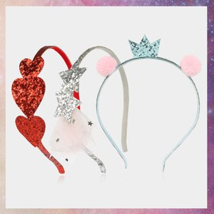 200909 Infantil Bola Cabelo Amor Rosa Vermelho Brilhante Crown menina Headband
