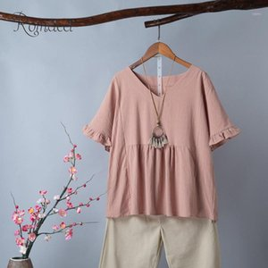 Women Plus Size Ruffle Tops Cotton Vintage V Neck Short Sleeves Top Casual Large Female Summer Loose Breathable T-Shirt1