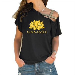 Fashion Women Clothing Namaste Print Tee T Shirt Women Top Short Sleeve Female Tops Clothing Irregular Skew Cross Bandage T Shirt For