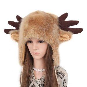 Berretto / cranio tappi invernali peluche peluche in peluche cappello carino bue corni cervi antlers tappo auricolare lanuginoso