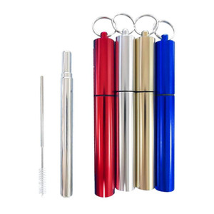 Portable Stainless Steel Straw Set With Aluminum Case & Clean Brush Reusable Foldable Straight Drink Straws Bar Tool