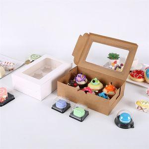 Şeffaf Pencere Muffin Cupcake Kutusu Hediyeler Kek Tatlı Gıda Saklama Kapları Pişirme Ambalaj Organizatör Kraft Kağıt 0 75BG F2