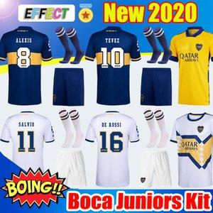 New 2020 Boca Juniors Maillots de football à domicile à l'extérieur Troisième 20 21 Boca Jersey MARADONA DE ROSSI TEVEZ PAVON enfants Kit Chaussettes de football Chemises